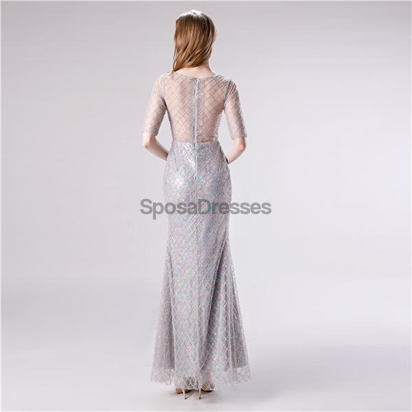 1/2 Long Sleeves Sequin Mermaid Evening Prom Dresses, Evening Party Prom Dresses, 12112