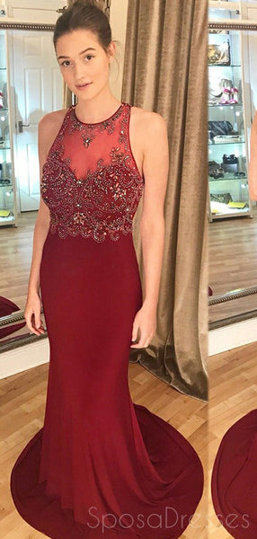 Burgundy Open Back Mermaid Cheap Long Evening Prom Dresses, Cheap Sweet 16 Dresses, 18331