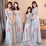 Gray Lace Short Sleeve Long Bridesmaid Dresses, Cheap Bridesmaid Gowns, BD0001