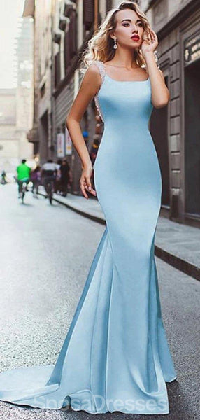 Sexy Blue Mermaid Backless Evening Prom Dresses, Evening Party Prom Dresses, 12198