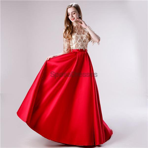 1/2 Long Sleeves High Neck Red Skirt Sequin Top Evening Prom Dresses, Evening Party Prom Dresses, 12116
