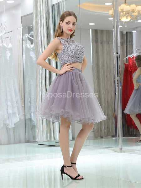 Sexy Two Pieces Grey Lace Cheap Homecoming Dresses Online, Cheap Short Prom Dresses, CM802