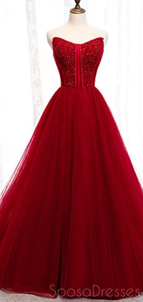 Red Tulle A-line Cheap Long Evening Prom Dresses, Sweet 16 Prom Dresses, 12352