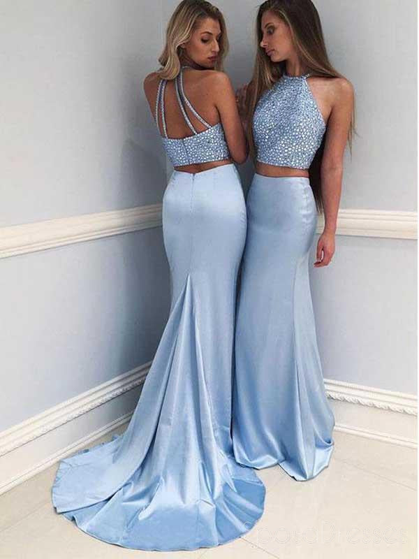 Sexy Two Pieces Blue Mermaid Halter Long Custom Evening Prom Dresses, 17451