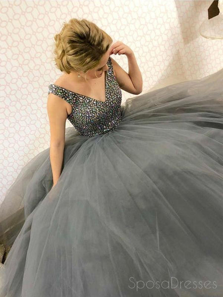 Popular V Neck Grey Beaded A-line Long Evening Prom Dresses, 17570