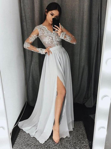 Long Sleeve Gray Lace Fashion Evening Prom Dresses, Sexy Split Party Prom Dresses, Custom Long Prom Dresses, Cheap Formal Prom Dresses, 17146