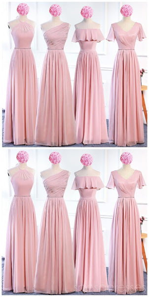 Affordable Blush Pink Floor Length Mismatched Chiffon Bridesmaid Dresses Online, WG536