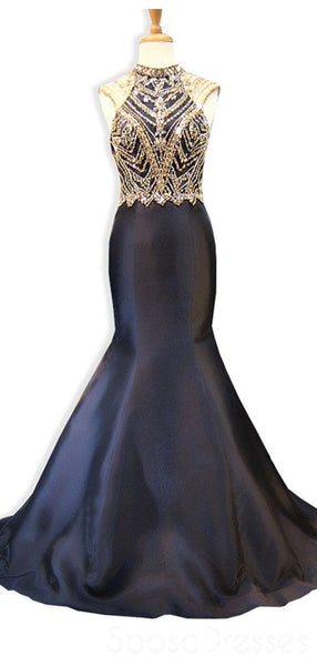 Black Open Back Beaded Mermaid Long Evening Prom Dresses, Cheap Custom Sweet 16 Dresses, 18529