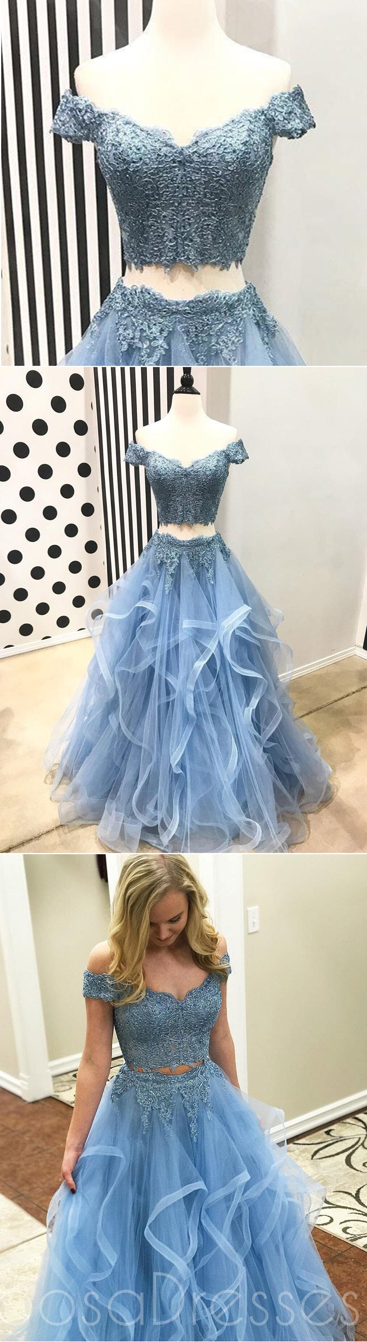 Off Shoulder Short Sleeve Two Pieces Light Blue Lace Long Custom ...