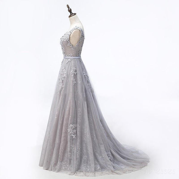 Sexy Backless Scoop Neckline Gray Lace Beaded Evening Prom Dresses, Popular Lace Party Prom Dresses, Custom Long Prom Dresses, Cheap Formal Prom Dresses, 17177