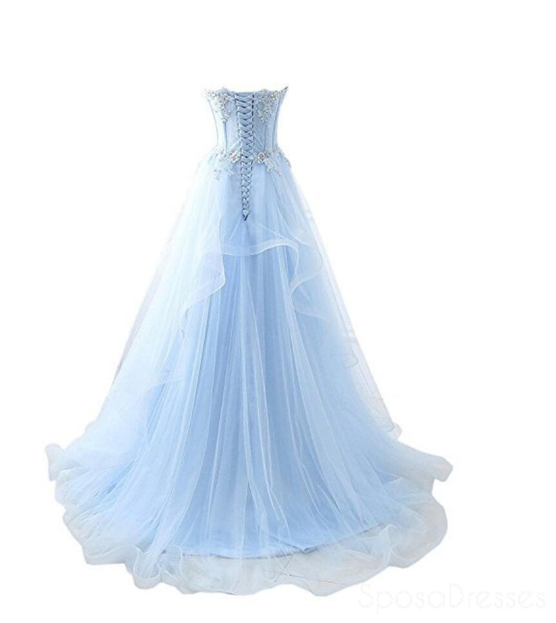 Light Blue Sweetheart See Through Lace Tulle A line Long Evening Prom Dresses, 17524