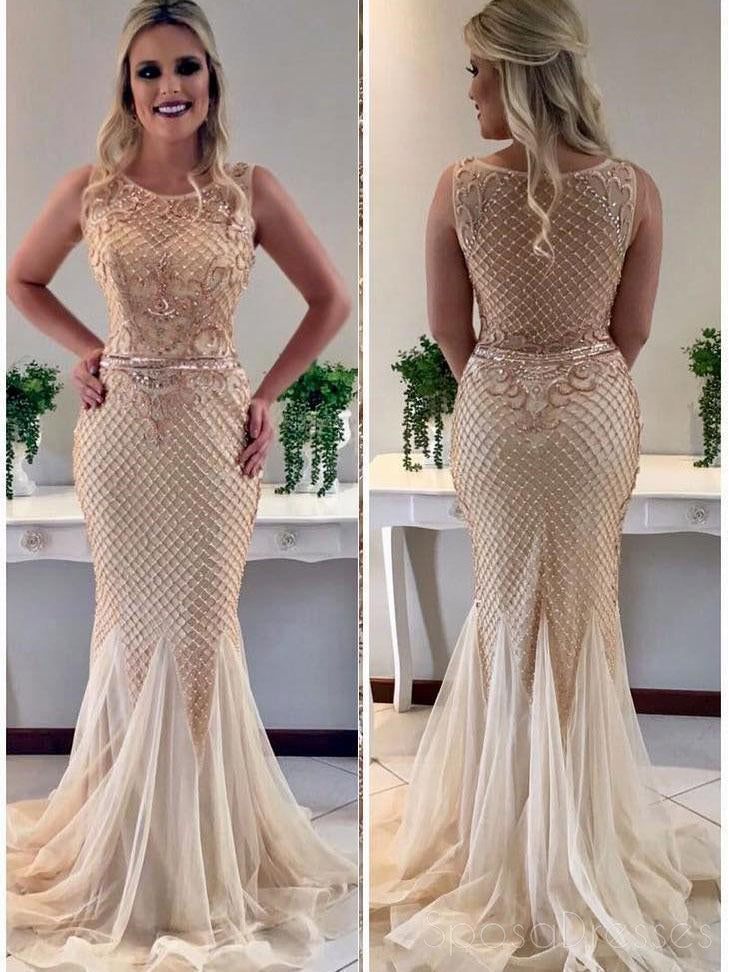 Sexy See Through Heavily Beaded Scoop Neckline Mermaid Long Evening Prom Dresses, Popular Cheap Long 2018 Party Prom Dresses, 17260