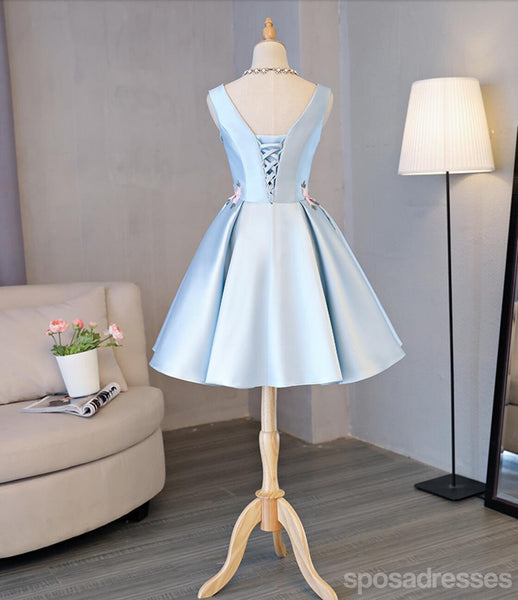 Light Blue Scoop Neckline Hand Made Flower Cute Homecoming Prom Dresses, Affordable Short Party Prom Sweet 16 Dresses, Perfect Homecoming Cocktail Dresses, CM326