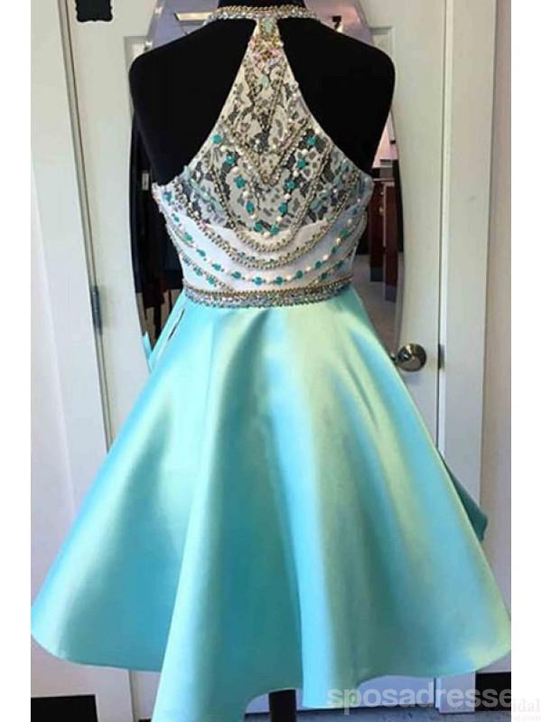 Heavily Beaded Green Halter Short Homecoming Prom Dresses, AffordableSweet 16 Dresses, CM3590