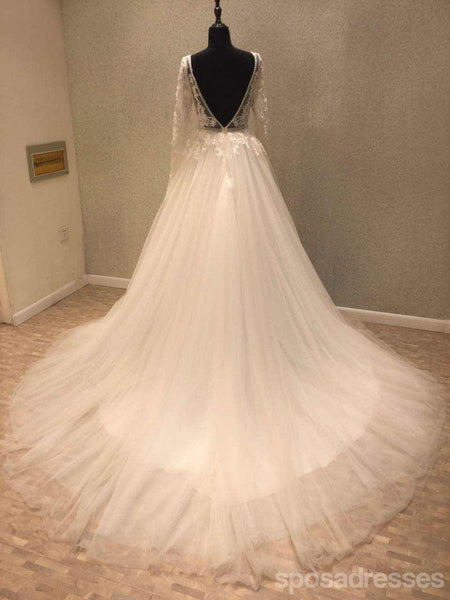 Long Sleeve Backless V Neckline See Through Lace Wedding Bridal Dresses, Custom Made Wedding Dresses, Affordable Wedding Bridal Gowns, WD244