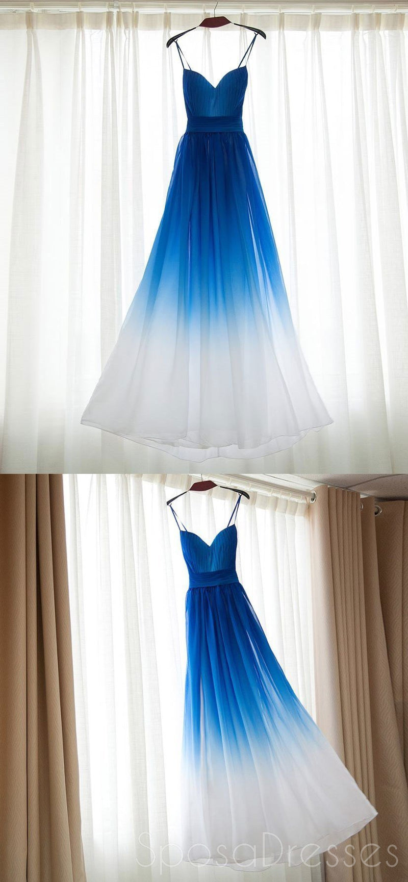 Ombre Blue Chiffon Sweetheart Neckline Long Evening Prom Dresses, Popular Cheap Long Custom Party Prom Dresses, 17314