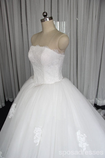Strapless A line Tulle Wedding Dresses, Custom Made Long Wedding Gown, Cheap Wedding Gowns, WD200