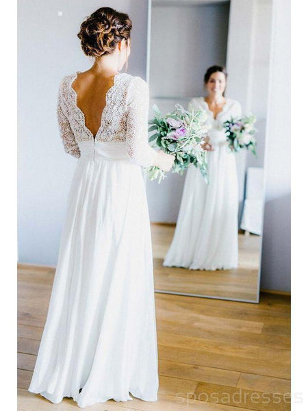Long Sleeves Backless Beach Wedding Dresses Online, Cheap Lace Bridal Dresses, WD462