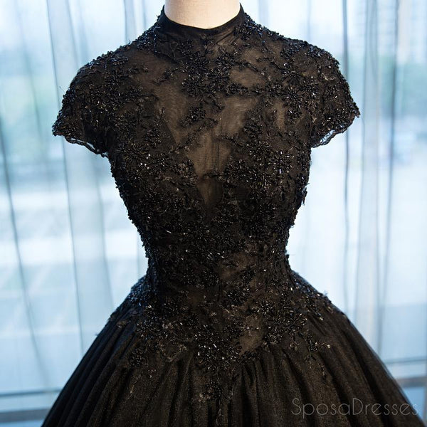Sexy Backless High Neckline Short Sleeve A line Lace Long Evening Prom Dresses,17235