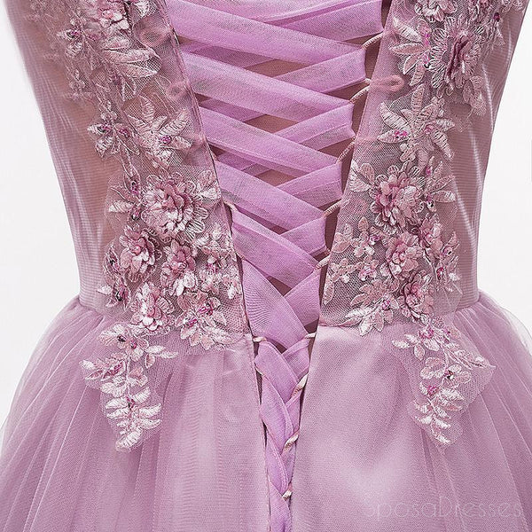 Purple Scoop Neckline Tulle Skirt Long Evening Prom Dresses, Popular Cheap Long 2018 Party Prom Dresses, 17225