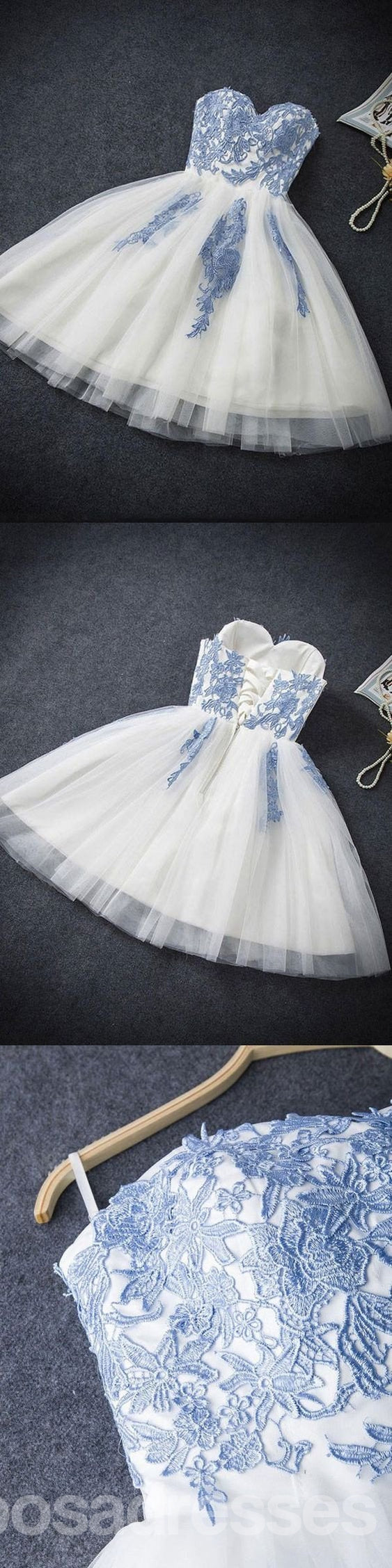 Strapless Sweetheart Neckline Blue Lace Tulle Homecoming Prom Dresses, Affordable Short Party Prom Sweet 16 Dresses, Perfect Homecoming Cocktail Dresses, CM353