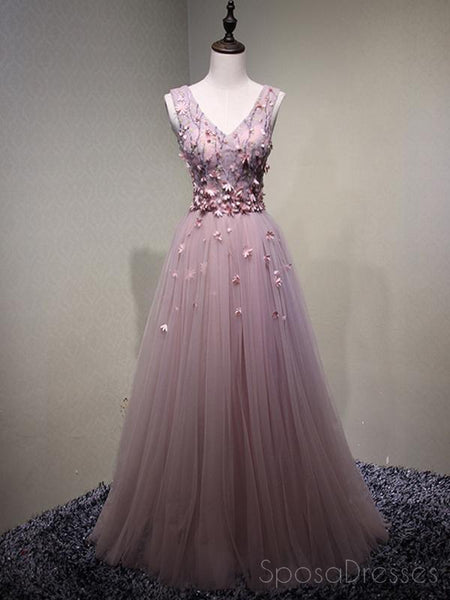 Pink See Through V Neck A-line Tulle Long Evening Prom Dresses, 17616