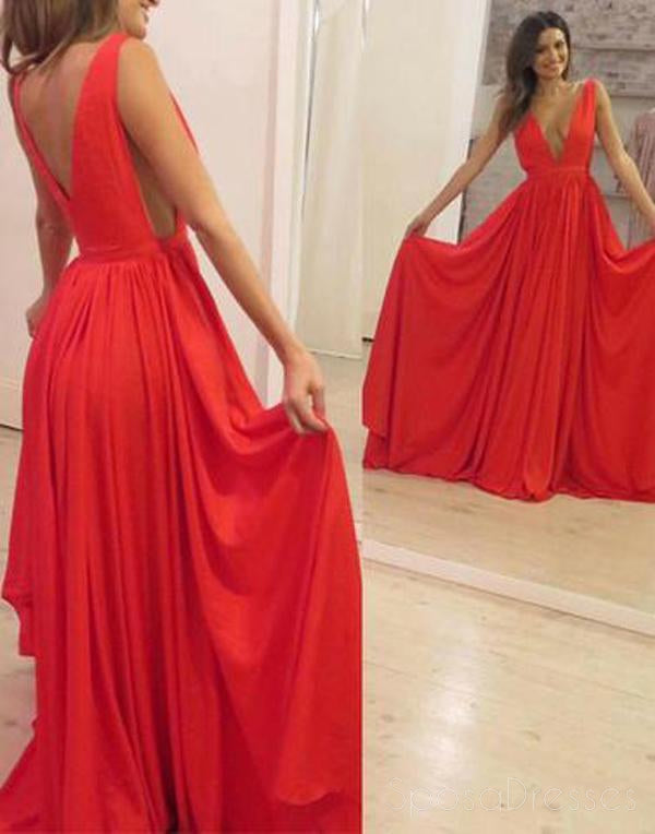 Sexy V Neck Dark Red Mermaid Long Evening Prom Dresses, 17657