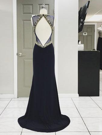 Sexy Open Back Delicate Beading Navy Mermaid Custom Long Evening Prom Dresses, 17361