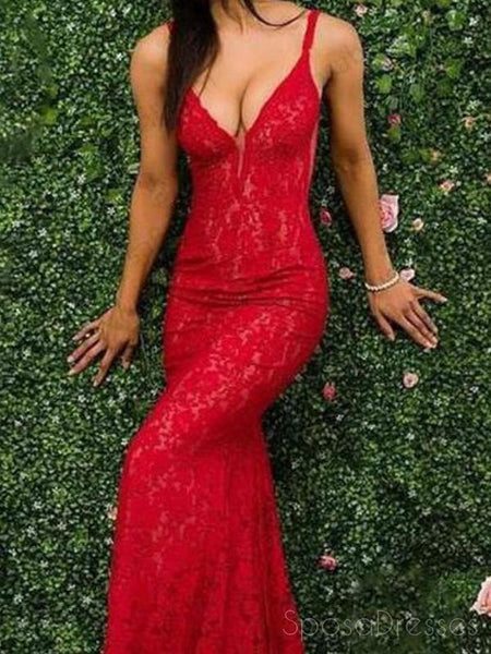 Spaghetti Straps Red Lace Mermaid Long Evening Prom Dresses, 17559