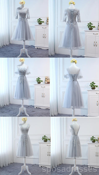 Mismatched Gray Lace Short Bridesmaid Dresses, Cheap Custom Short Bridesmaid Dresses, Affordable Bridesmaid Gowns, BD026