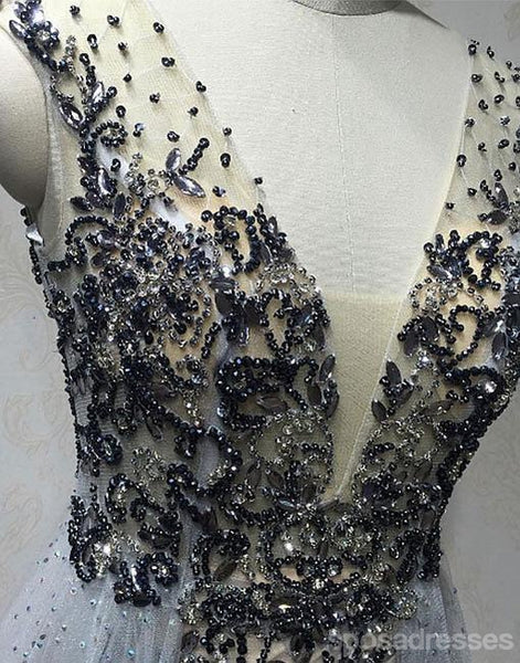 Sexy Deep V Neckline Heavily Beaded Long Evening Prom Dresses, Popular Cheap Long 2018 Party Prom Dresses, 17250