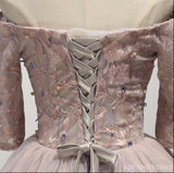 Dusty Pink Off Shoulder Long Sleeve Lace Homecoming Prom Dresses, Affordable Short Party Corset Back Prom Dresses, Perfect Homecoming Dresses, CM220