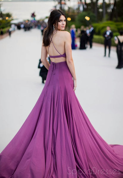 Two Pieces Backless Purple Evening Prom Dresses, Long Sexy Party Prom Dress, Custom Long Prom Dresses, Cheap Formal Prom Dresses, 17125