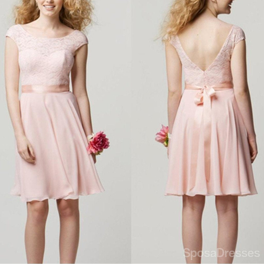 Cap Sleeve Lace Knee Length Blush Pink Cheap Popular Junior Short Wedding Bridesmaid Dresses, WG200