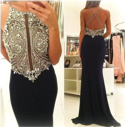 Sexy Backless Beaded Mermaid Evening Prom Dresses, Black Long Party Prom Dress, Custom Long Prom Dresses, Cheap Formal Prom Dresses, 17075