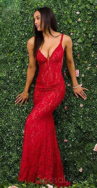 Spaghetti Straps Red Lace Mermaid Long Evening Prom Dresses