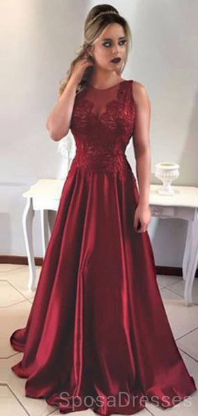 Maroon Jewel A-line Low Back Evening Prom Dresses, Cheap Custom Sweet 16 Dresses, 18470