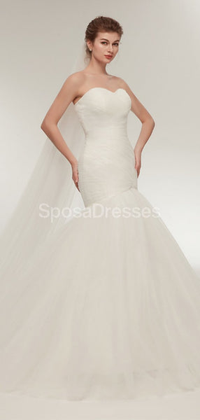 Sweetheart Tulle Mermaid Simple Cheap Wedding Dresses Online, Cheap Bridal Dresses, WD567