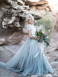 Short Sleeves Blue Skirt Cheap Wedding Dresses Online, Cheap Bridal Dresses, WD658