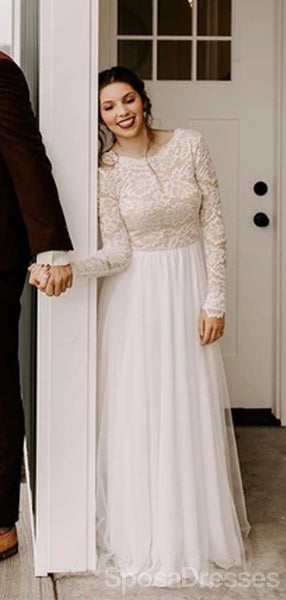 Long Sleeves Backless Cheap Wedding Dresses Online, Cheap Unique Bridal Dresses, WD607
