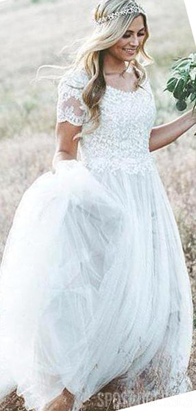 Short Sleeves Lace Applique Wedding Dresses Online, Cheap Bridal Dresses, WD648