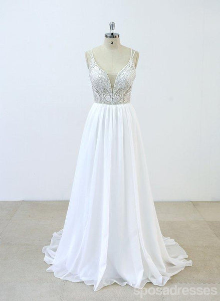 Spaghetti Straps Lace Beaded Cheap Beach Wedding Dresses Online, WD377