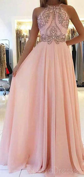 Blush Pink Halter Beaded Chiffon Long Evening Prom Dresses, Cheap Sweet 16 Dresses, 18349