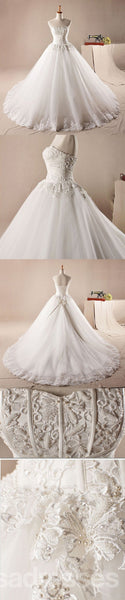 Strapless A line Lace Beaded A line Wedding Dresses, Custom Made Wedding Dresses, Cheap Wedding Gowns, WD215