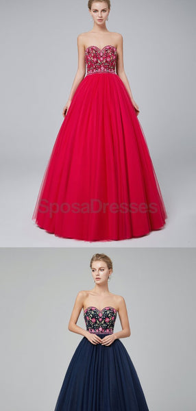 Sweetheart A-line Embroidered Ball Gown Evening Prom Dresses, Evening Party Prom Dresses, 12021