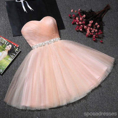 Cute Peach Sweetheart Neckline Tulle Homecoming Prom Dresses, Affordable Short Party Prom Sweet 16 Dresses, Perfect Homecoming Cocktail Dresses, CM357