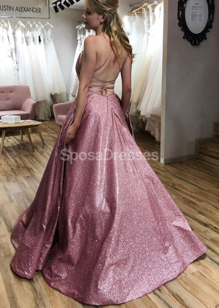 Sexy Backless Spaghetti Straps Pink Glitter Long Evening Prom Dresses, Evening Party Prom Dresses, 12284