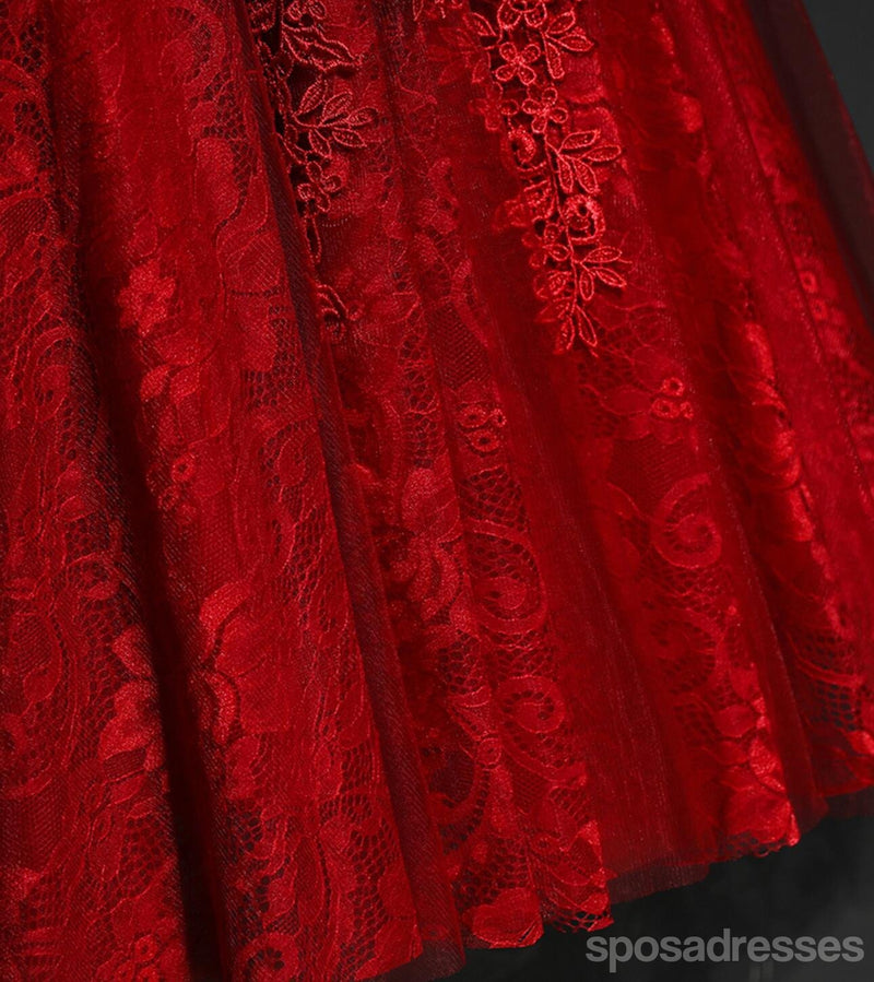 Red Lace V Neckline Beaded Homecoming Prom Dresses, Affordable Corset Back Short Party Prom Dresses, Perfect Homecoming Dresses, CM259