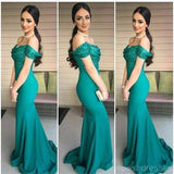 Off Shoulder Sequin Green Mermaid Cheap Bridesmaid Dresses Online, 17080