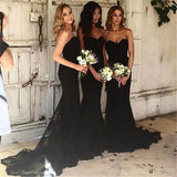 Sexy Black Mermaid Sweetheart Lace Long Cheap Bridesmaid Dresses Online, WG344
